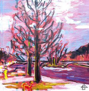 Buntstifte und Aquarell auf rotem Karton. Zwei blätterlose Bäume im Schnee an der Isar. Hinten die Wittelsbacher Brücke und vorn ein Hund.