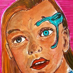 Fineliner und Aquarell. Portrait von Detmer aus Star Trek Discovery. Sie hat ein braunes und ein blaues Auge, um das blaue Auge eine blaue technische Halterung und leicht geöffnete Lippen.
