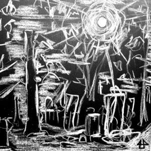 Weiße Wachskreide auf schwarzem Papier. Gleissende Sonne über Friedhof, vorne ein Baumstamm.