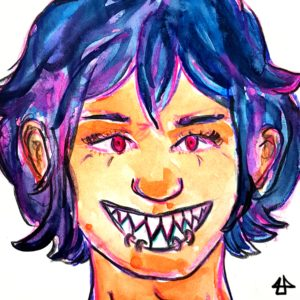 Colored pencils and water colors. Pink eyed person with pointy teeth and a broad grin. The face is framed by chin lenght blue hair.