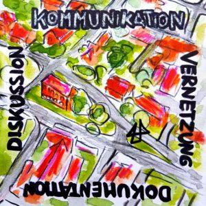 Zeichnung mit Buntstiften und Aquarell. An den vier Seiten des quadratischen Bildes prangen handgeschrieben die Wörter: Kommunikation, Diskussion, Vernetzung, Dokumentation. Da hinter die Vogelperspektive auf von sich verzweigenden Straßen und Häusern. In der Mitte der Zeichnung wurde das Logo von Illi Anna Heger, was wie ein Haus aussieht, eingefügt.