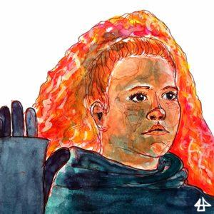 Zeichnung mit Fineliner und Aquarell. Weiße Frau mit lockigen roten Haare zu einem hohen Zopf am Hinterkopf gebunden, hält die schwarz behandschuhten Hände gehoben und hat einen vorsichtig ängstlichen Blick.