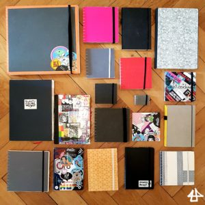19 Bücher, quadratisch, DIN A4 oder DIN A5, zum Teil mit bunt gemustertem Einband liegen zu einem Quadrat arrangiert auf Parkettboden.