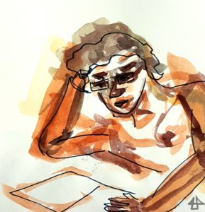 Aquarellskizze mit wenigen dunklen Fineliner Linien: Frau mit Brille hat den Kopf auf den rechten Arm gestützt und liest. Büste.