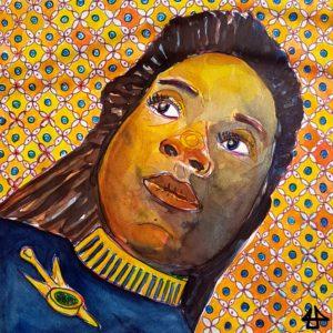 Portraitzeichnung Fineliner und Aqarell. Blick auf das Gesicht der Star Trek Offizierin von schräg unten, im Hintergrund eine Art Mosaik. Sie schaut nachdenklich zur Seite und hat ei e blaue Uniform mit Abzeichen.