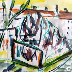 Zeichnung mit Buntstiften und Aquarell. Im Innenhof ein Geländer neben einer Treppe, dahinter blätterlose Büsche und Wohnhäuser.