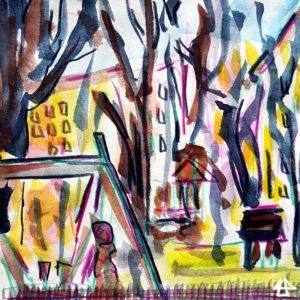 Zeichnung mit Buntstiften und Aquarell in gelb und lila Tönen. Eine große Schaukel, dahinter ein Spielplatz mit Bäumen in einem Wohnviertel.