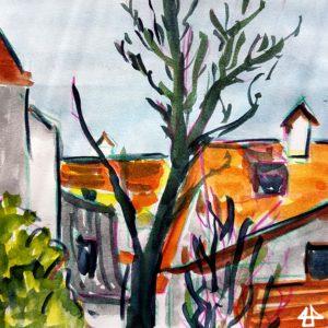 Zeichnung mit Buntstiften und Aquarell. Ein blätterloser großer Baum vor vielen hinteranderliegenden roten Dächern.