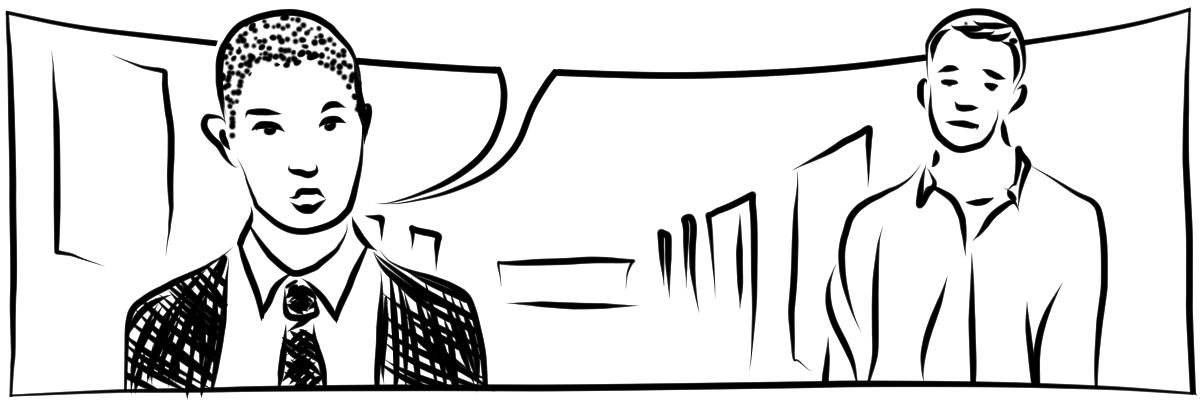 Illustration mit schwarzen digitalen Linien auf weißem Hintergrund. Ein Person mit sehr kurz rasierten Haaren in Hemd, Anzug und Schlips spricht energisch. Daneben eine Person mit ungebügeltem Hemd die abwartend drei schaut. Die Sprechblase ist leer.