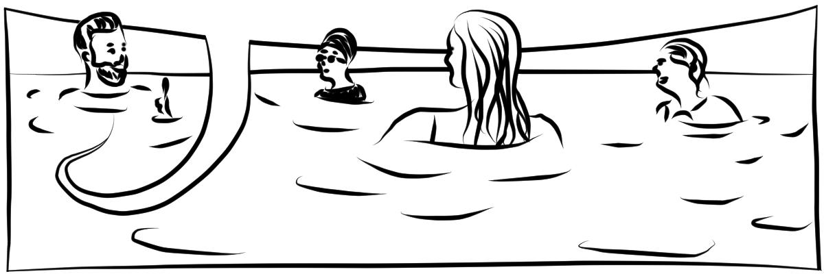 Illustration mit schwarzen digitalen Linien auf weißem Hintergrund. Vier Menschen zusammen in einem großen Gewässer, im Hintergrund die Horizontlinie. Sie treten Wasser und unterhalten sich Die Sprechblase ist leer.