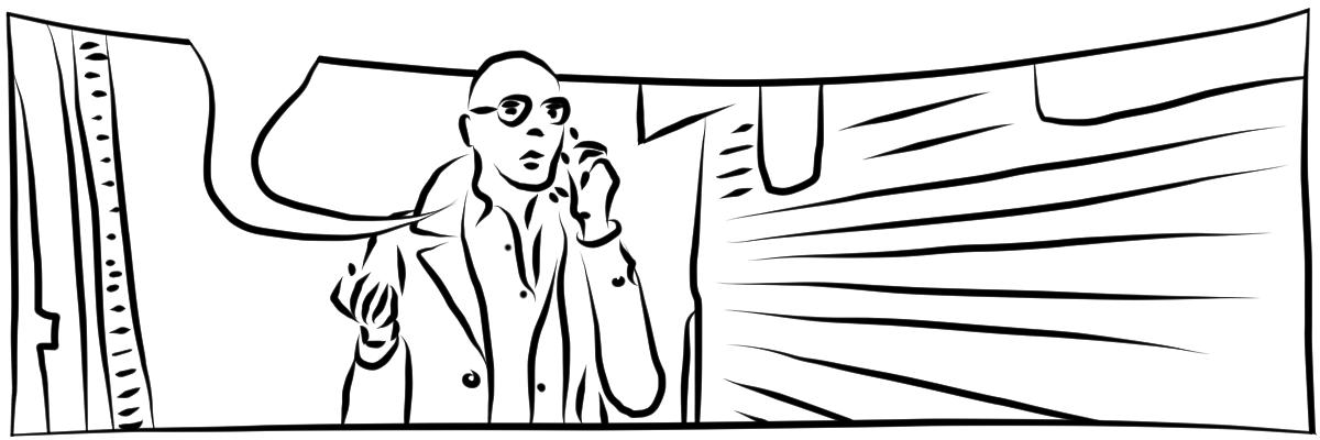 Illustration mit schwarzen digitalen Linien auf weißem Hintergrund. Ein Mensch mit Trench Coat, modischer Sonnenbrille und Hemd, telefoniert neben einem Wohnmobel stehend.