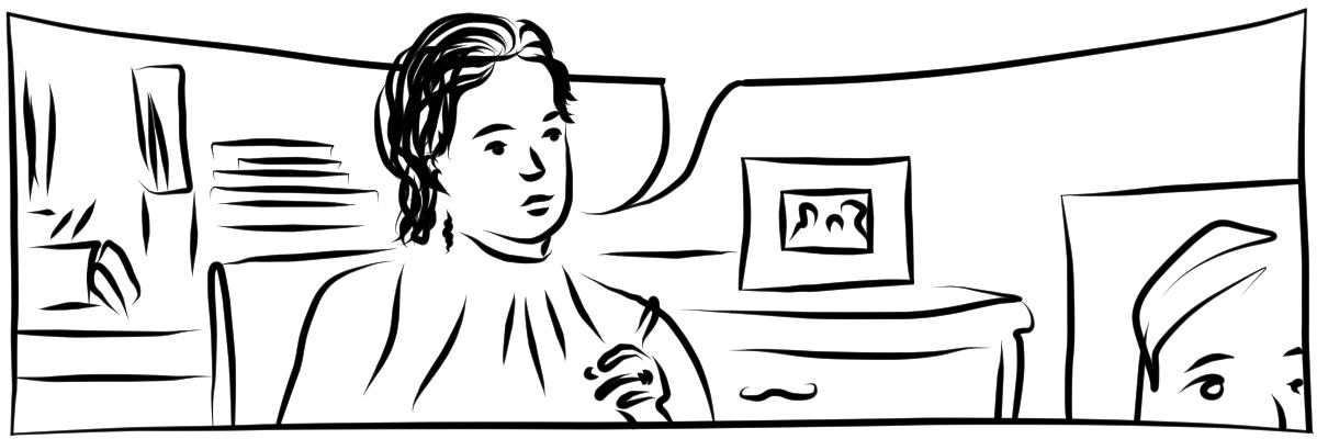 Illustration mit schwarzen digitalen Linien auf weißem Hintergrund. Ein Mensch mit halblangen welligen Haare sitzt in einem größeren Bürozimmer und spricht. Die Sprechblase ist leer.