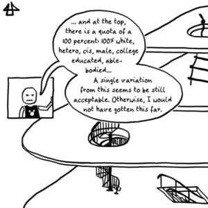 Digital comic, black simple line drawing: The five level pile up, one on top of the other like flying slices of cheese connected via tiny stairs, ladders and escalators. With an annoyed face a stick figure persons says: »… and at the top, there is a quota of a 100 percent: 100% white, hetero, cis, male, college educated, able-bodied… A single variation from this seems to be still acceptable. Otherwise, I would not have gotten this far.«