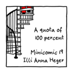 Link to minicomic 19, called A quota of 100 percent, illustrated with a spiral staircase where the shoes of a person are at the top