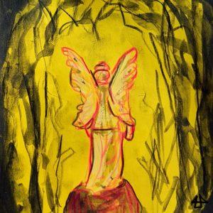 Buntstifte auf gelbem Papier mit Aquarell-Graphit. Engel mit pinken Linien auf Grabstein und rundherum Bäume.