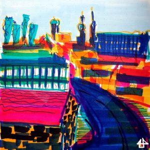 Filzstiftzeichnung in grellen Farben. Häuser einer Stadt, eine Straße führt ins Stadtzentrum. Im Hintergrund Kirchtürme, die Frauenkirche in München. Zwischen den Dächern die Pappelkronen.