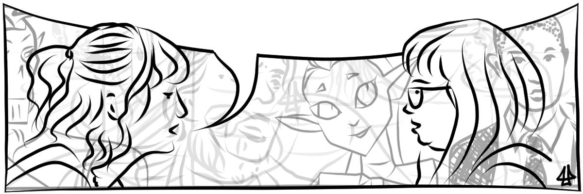 Illustration mit schwarzen und grauen digitalen Linien auf weißem Hintergrund. Zwei Menschen sind in Profilansicht abgebildet, sie unterhalten sich. Eine Person mit welligem zu einem Zopf am Hinterkopf gebunden Haar, die andere Person mit langen Haaren und Ponyfrisur. In der Mitte eine angedeutete Sprechblase. Im Hintergrund Umrisse anderer Menschen in hellgrau.