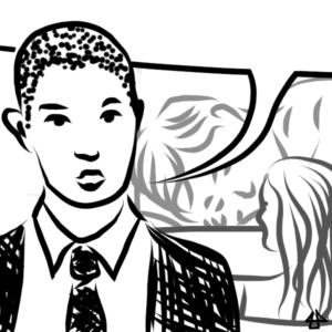 schwarz-weisse Illustration: Ein Person mit sehr kurz rasierten Haaren in Hemd, Anzug und Schlips spricht energisch. Die Sprechblase ist leer. Im Hintergrund  jemand mit nassen langen Haaren im Wasser. Dahinter eine Person die mit den Kopf auf den Armen schläft.