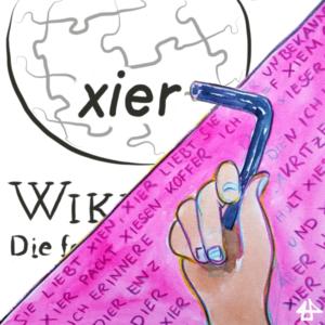 Gezeichnete Illustration von Illi Anna Heger. Das Bild ist diagonal geteilt. Links oben das Wort