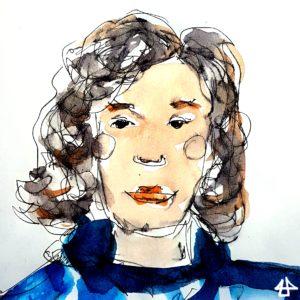 Tintezeichnung mit teils verschommener Aquarellschicht. Porträt von Mensch mit kreisförmigen Wangen, dunkelblonden Locken mit Seitenscheitel und nachdenklichem Blick.