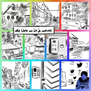 Alle Orte wo ich je wohnte, ein Mosaik aus 10 Zeichnung, im letzten stehe ich mit Handy aus dem Twittervögelchen fliegen. Ich habe in Einfamilienhäusern, in Mietskasernen, im Plattenbau, Doppelhaushälften, in nem viktorianischen Haus, im Bauernhaus und in so 60er Jahre Häusern gewohnt.