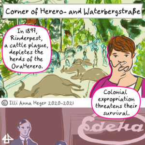 Excerpt of the comic. In the top panel dead cattle lying in the street. A person with short hair and a pink jacket at the side is clapping their hand over their mouth. Text: In 1897, Rinderpest, a cattle plague, depletes the herds of the OvaHerero. Colonial expropriation threatens their survival. Below somebody in suit and tie next to an old fashioned