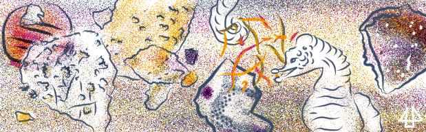 Wimmelbild Illustration zusammengestellt aus Elemente des Comics Plastikplankton. Ein Seepferdchen umgeben von kleinen und große, bunten Plastikstücken.