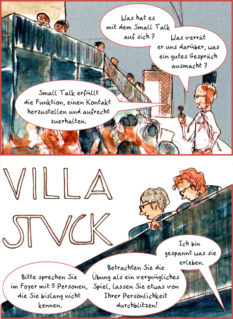 Ausschnitt aus dem Comic Smalltalk und Link zu Comic mit vollständiger Texttranskription. Der abgebildete Ausschnitt zeigt das Publikum beim Philosophischen Foyer der Villa Stuck. Einige hören dem Moderator, der sie begrüßt und den Abend einleitet, auf Stühlen sitzend im Saal zu, zwei Menschen lauschen von einer Balustrade.