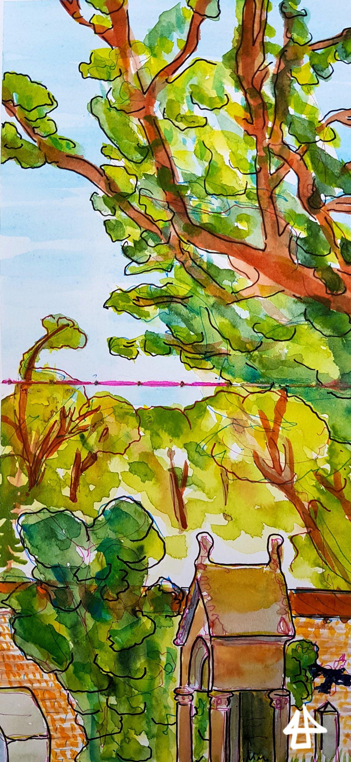 Zeichnung mit Fineliner und Aquarell: Überdachtes künstvolles Grabmal aus Sandstein, dahinter die Backsteinfriedhofsmauer und große Bäume mit sonnendurchfluteten Blättern.