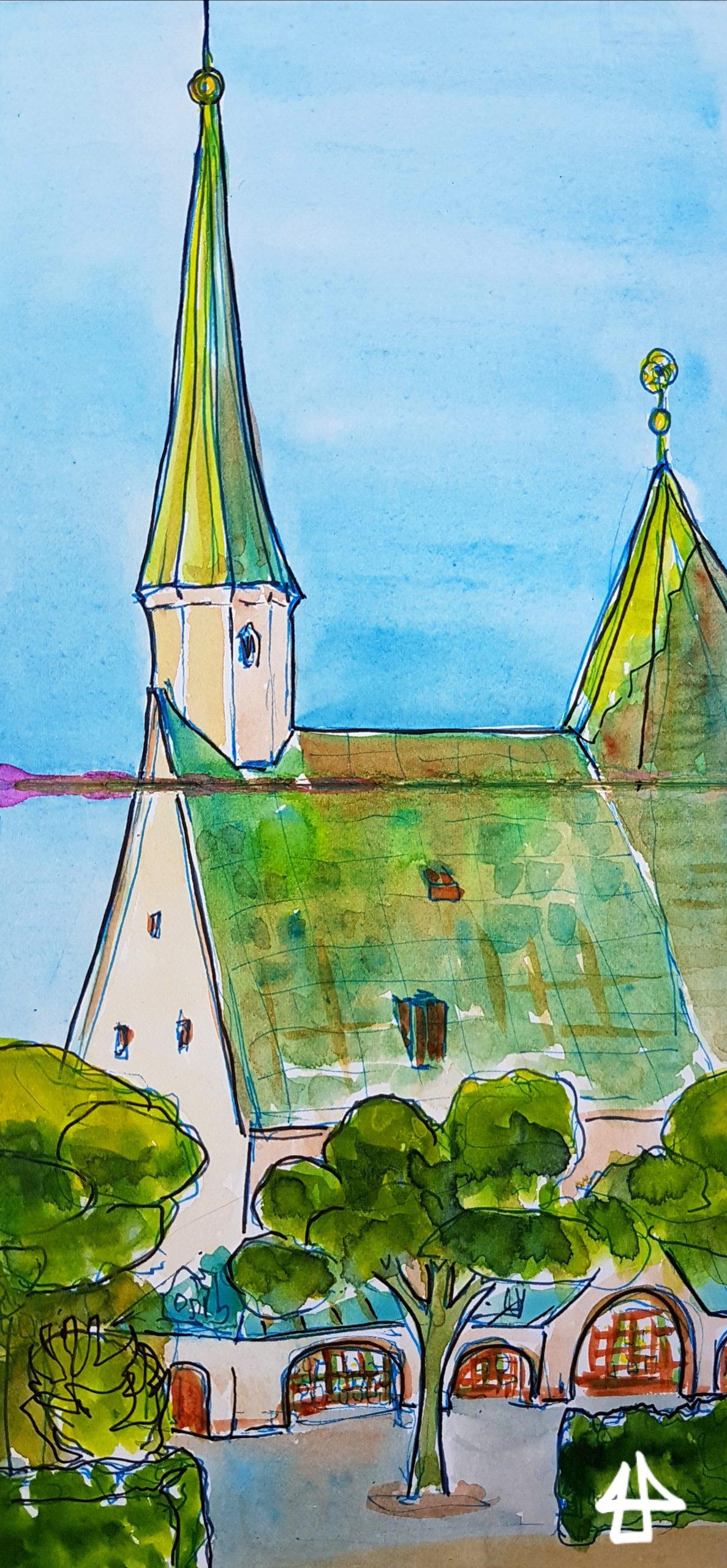 Zeichnung mit Fineliner und Aquarell: Kirchlein mit Kupferdach, zwei Türmen und Wandelgang, davor Bäume und Hecken.