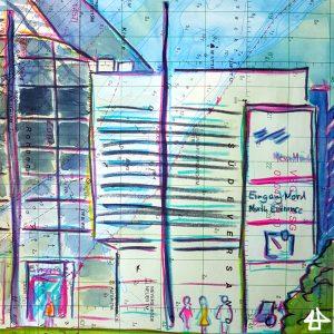 Zeichnungen mit Buntstiften: Ecke eines Messegebäudes mit skizzenhaft gezeichneten Passanten, Messe München, Eingang Nord.