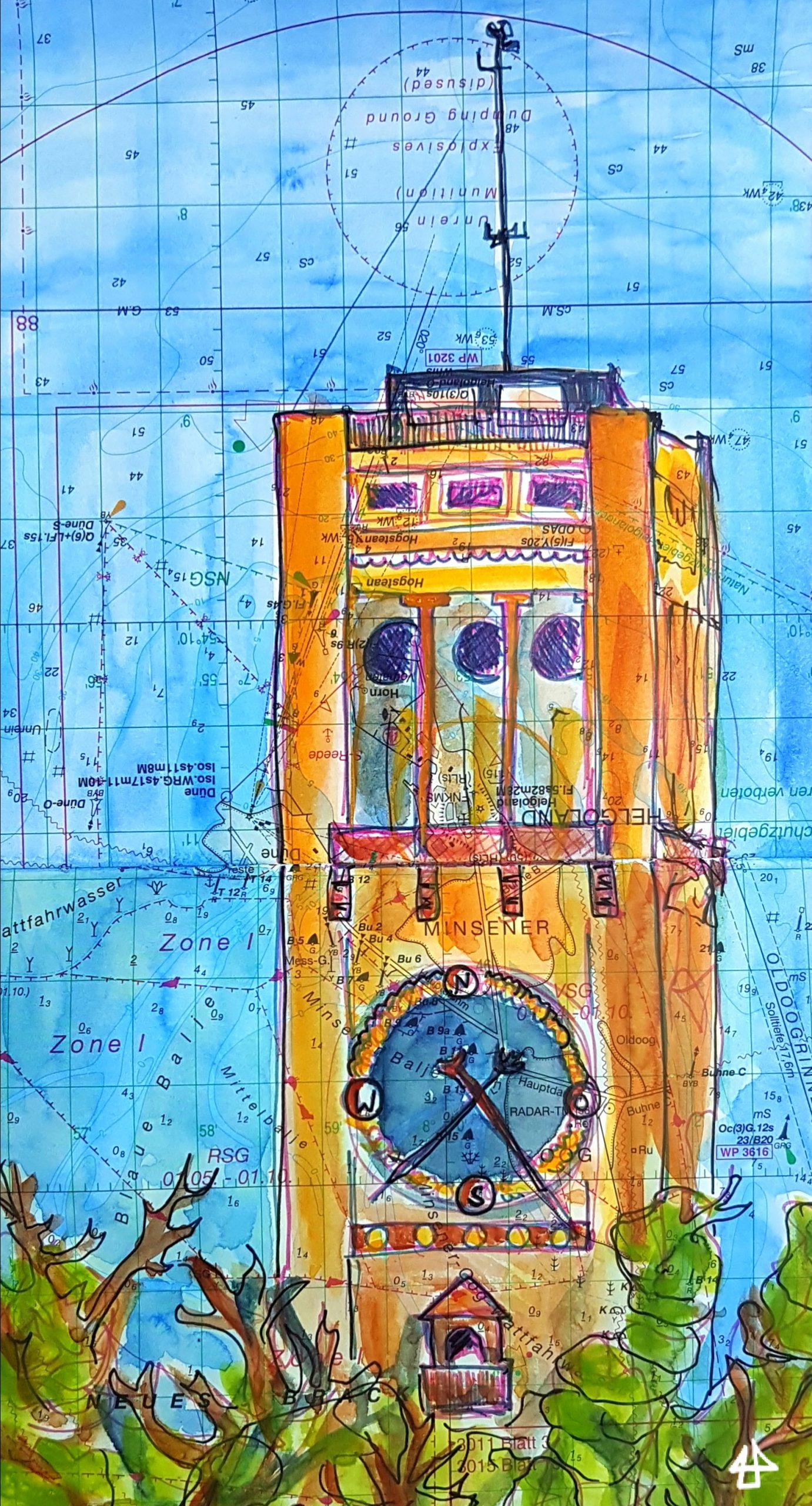Fineliner-Zeichnung auf alter Seekarte, koloriert mit Aquarellfarbe.  Der Turm des Museums mit Säulen und einer großen runden Anzeige der Windrichtung markiert mit den Himmelrichtungen, davor Baumwipfel.