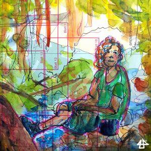 Wasserfarben und Fineliner aus alter Seekarte. Zeichnung einer Person mit Locken und Bergstiefelnsitzend im Wald.