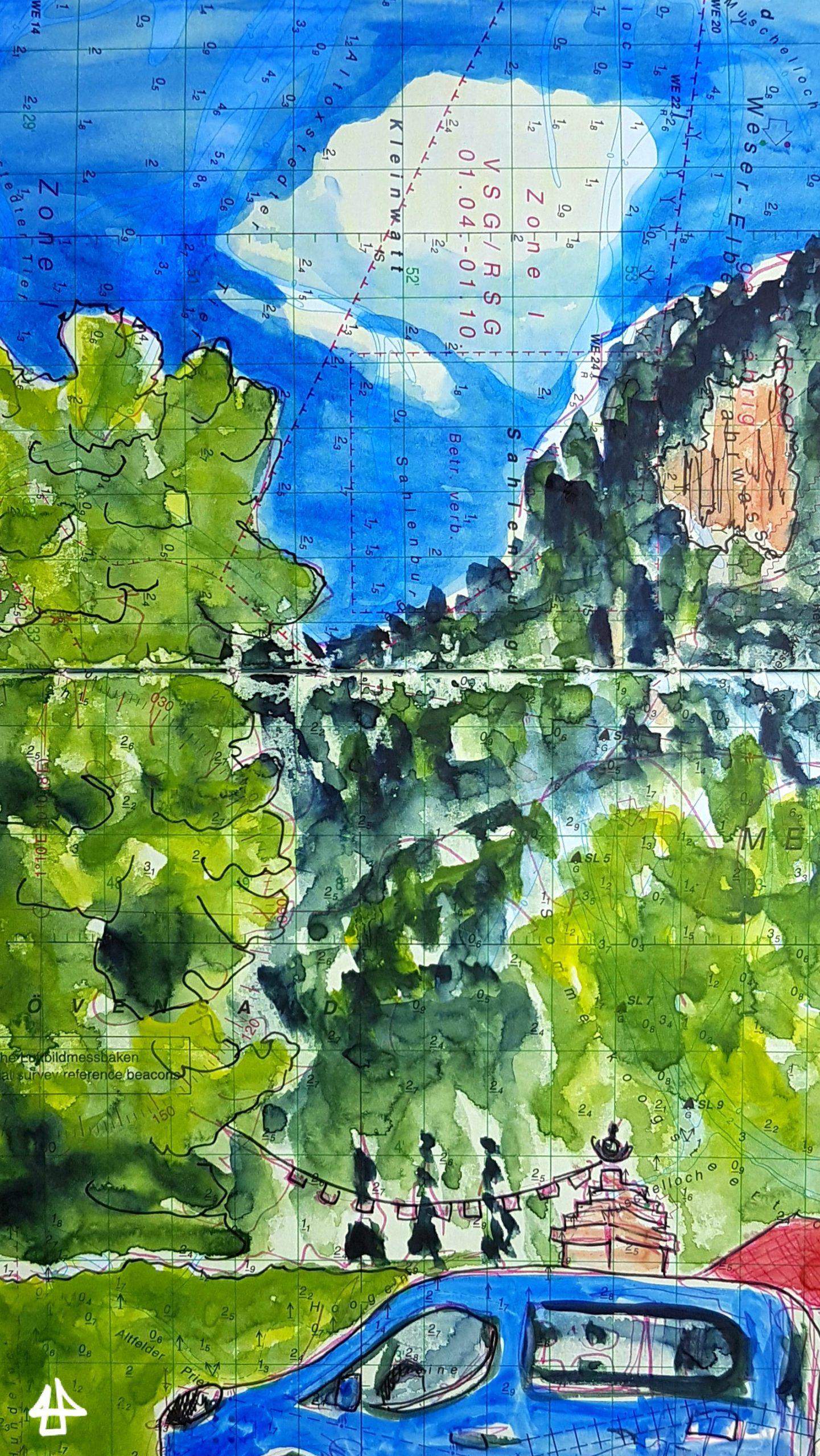 Wasserfarben und Fineliner auf alter Seekarte. Zeichnung bewaldeter Berge und einer großen weißen Wolke. Im Vordergrund ein blaues Auto und eine Statue mit Gebetsfahnen.