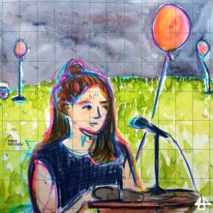 Aquarellierte Buntstiftzeichnung: Person mit langen Haare die zum Teil zu einem kleinen Dutt gebunden sind sitzt an einem Holztischchen und liest in ein Mikrofon. Dahinter Hügel mit Gras und festgebundene rote Luftballons im Wind.