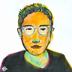 Koloriertes, gezeichnetes Porträt: Person mit kurzen, zurück gekämmten Haaren, runder Brille und schwarzem Oberteil mit rundem Ausschnitt. Die Farben sehen künstlich aus mit orangenen und grünen Farbflächen im Gesicht und pinken und gelben Akzenten.
