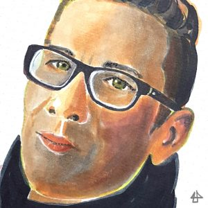 Kolloriertes Portrait mit alkoholbasierten Filzstiften: Person mit grünen Augen, dunkler Brille mit hellen Reflexen an den Gläsern, mit Dunklem Pullover mit hohem Kragen, mit Undercut und hochgegelten Haaren hat herbe Gesichtszügen und schaut musternd auf den Betrachter.