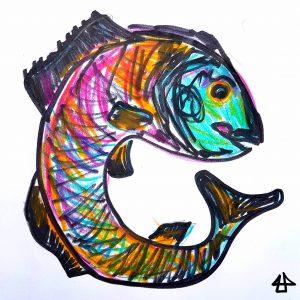 Zeichnung von eine Fisch der mit seinem Körper einen Kreis bildet. Schnelle Skizze mit Buntstift (magenta, türkis, gelb) und dickem schwarzem Filzstift.