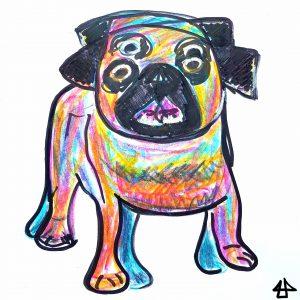 Schnelle Skizze mit Buntstift (gelb, türkis, magenta) und dickem schwarzem Filzstift von einem kleinen Hund mit flacher Schnauze. Der gleiche Hund ist zweimal übereinander gezeichnet, was aussieht als wenn er Pfoten und Kopf bewegt. Das Fell ist sehr regenbogenfarbig koloriert.